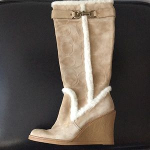 COACH Jonie suede & shearling boot- NEW